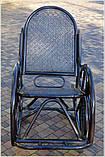Плетене крісло-гойдалка з ротангу з підніжкою, фото 6