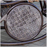 Плетене крісло-гойдалка з ротангу з підніжкою, фото 7
