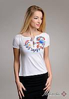 Біла футболка-вишиванка Петриківський розпис, фото 1