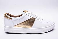 Кеды №374-Lusi-3 белая кожа + золото, фото 1