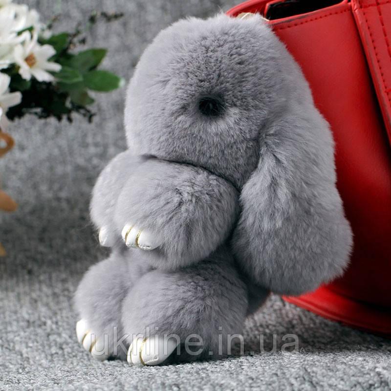 fc885ed7fb28 Пушистый кролик брелок из натурального меха 13см, игрушка кролик зайчик,  брелок на сумку