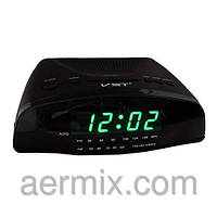 Электронные радиочасы 905-2 зеленые, настольные сетевые часы с радио, часы fm радио, радиочасы будильник
