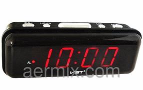 Часы сетевые VST 738-1 красные, часы электронные с красной светодиодной подсветкой, сетевые часы с будильником