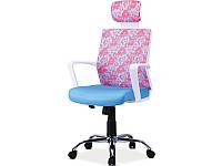 Офисное кресло Signal Maja голубой с розовыми узорами