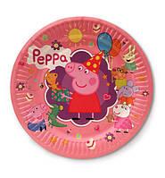 """Тарелки бумажные одноразовые детские """"Свинка Пеппа"""", 18 см, 10 шт/уп."""