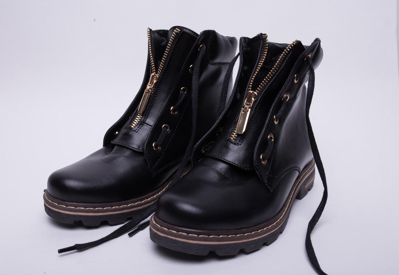 Ботинки №376-1 черная кожа