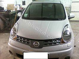 Установка биксеноновых линз G5 с глазами на Nissan Note 4