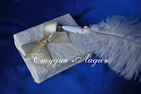 """Ручка с пером страуса на подставке для свадебной книги """"Санта Лючия"""""""