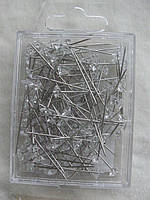 Булавки швейные декоративные длина с шляпкой\кристалл 3,5 см. 120 шт. , фото 1