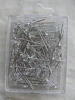 Булавки швейные декоративные длина с шляпкой\кристалл 3,5 см. 120 шт.