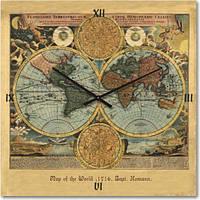 Часы настенные из стекла - карта мира 1716 года ( немецкий механизм)