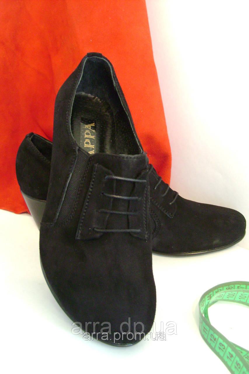 Замшевые классические туфли на танкетке,комфорт.