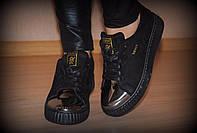 Криперсы черные бронзовый носок код 1860