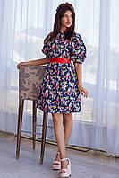 женское платье в цветы  рукава фонарики