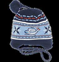 Детская вязаная шапочка на завязках с флисовой подкладкой, ТМ Ромашка, р.46-48