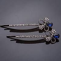 """Невидимки пара Цветы синий кристалл белые стразы под """"серебро"""" L-6см d-1,5cm"""