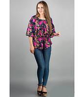Блузка свободная Лолита р.46-50 розовые цветы