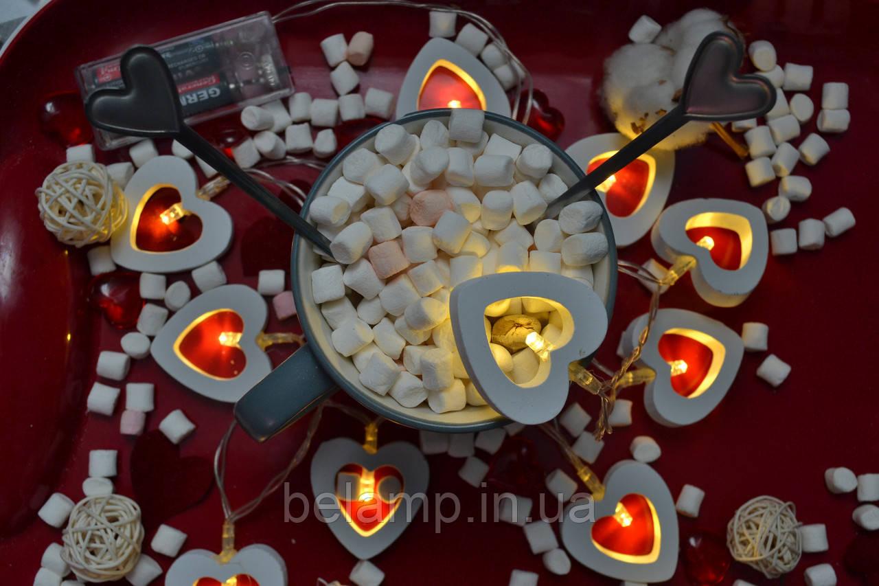 деревянные сердечки на батарейках