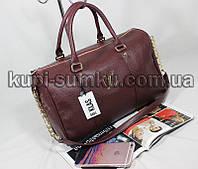 Брендовая стильная сумка-бочонок цвета марсала