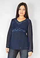 Блуза шифоновая синяя с бисером, 44-50 р-ры