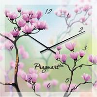 Часы настенные из стекла - сад сакуры (немецкий механизм)