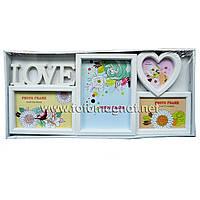 Мультирамка LOVE  пластиковая,коллаж (рамки для фотографий на стену) 1/15х10см.1/13х18см.1/9х9см.1/13х9см.