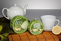 Декоративная дизайнерская свеча Зеленый чай диск 40/90mm