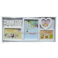 Мультирамка FAMILYпластиковая,коллаж(рамки для фотографий на стену) 1/15х10см.1/13х18см.1/9х9см.1/1