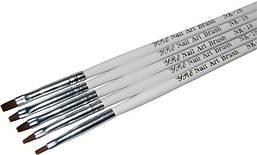 Набор кистей для геля с белой ручкой