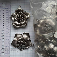 """Метав. підвіска """"Квітка"""" срібло, 20 шт в уп."""