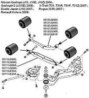 Сайлентблок Renault Koleos 08-; Nissan Qashqai 06-; Qashqai+2 08-, X-Trail 07-;
