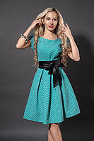 Летнее бирюзовое платье в ромбик