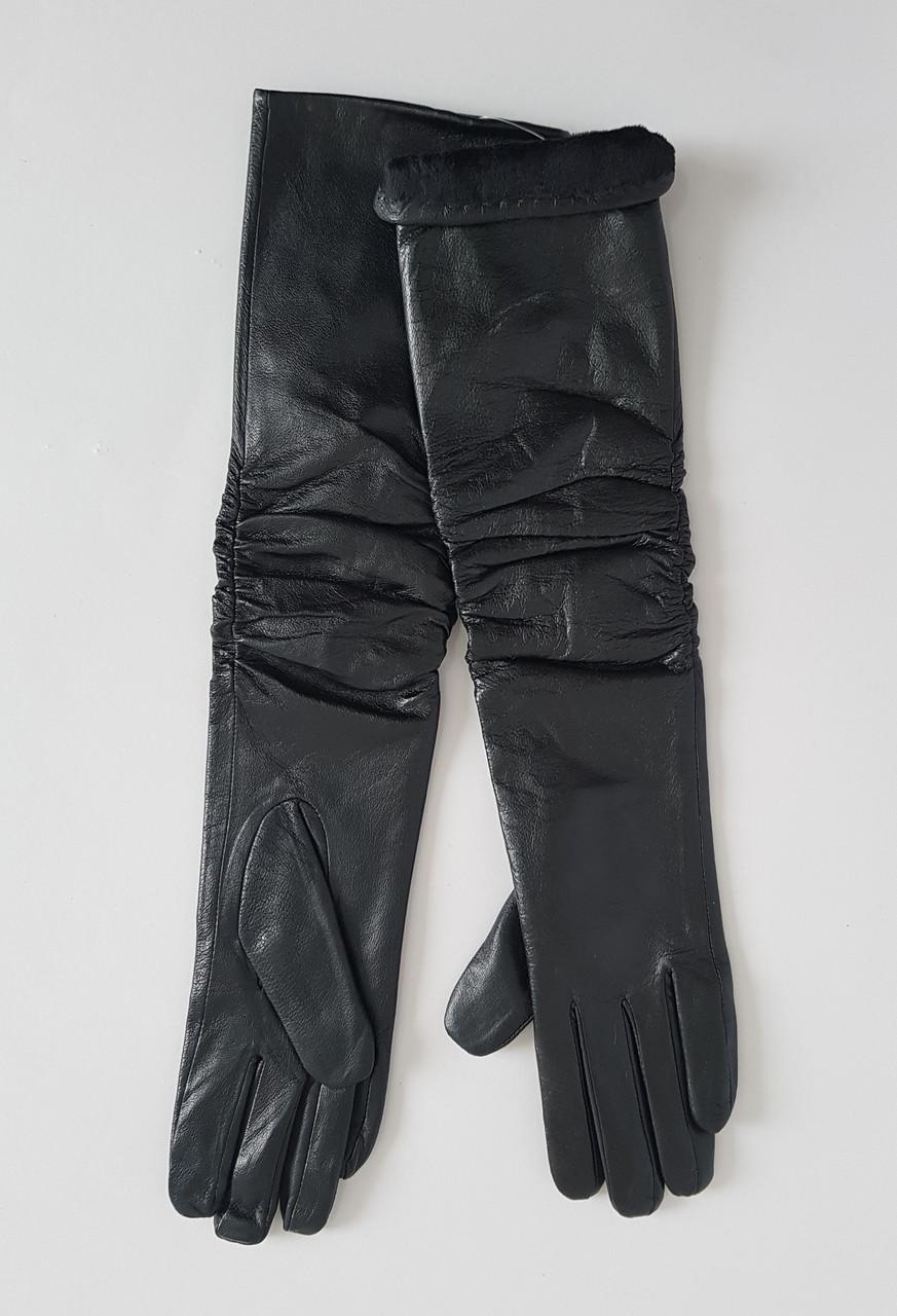 Кожаные женские длинные перчатки