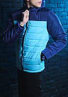 Мужская осенняя куртка Pobedov Double Colour Spring Jacket (сине-голубая)