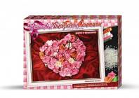 Набор для творчества Вышивка лентами и бисером, Картина Сердце из роз