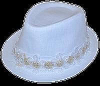 Шляпа челентанка цветы лен белый+бел.цветы