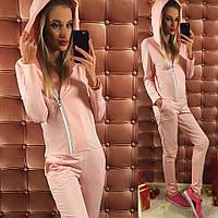 Розовый  женский комбинезон на змейке, с капюшоном. Арт-9755/12