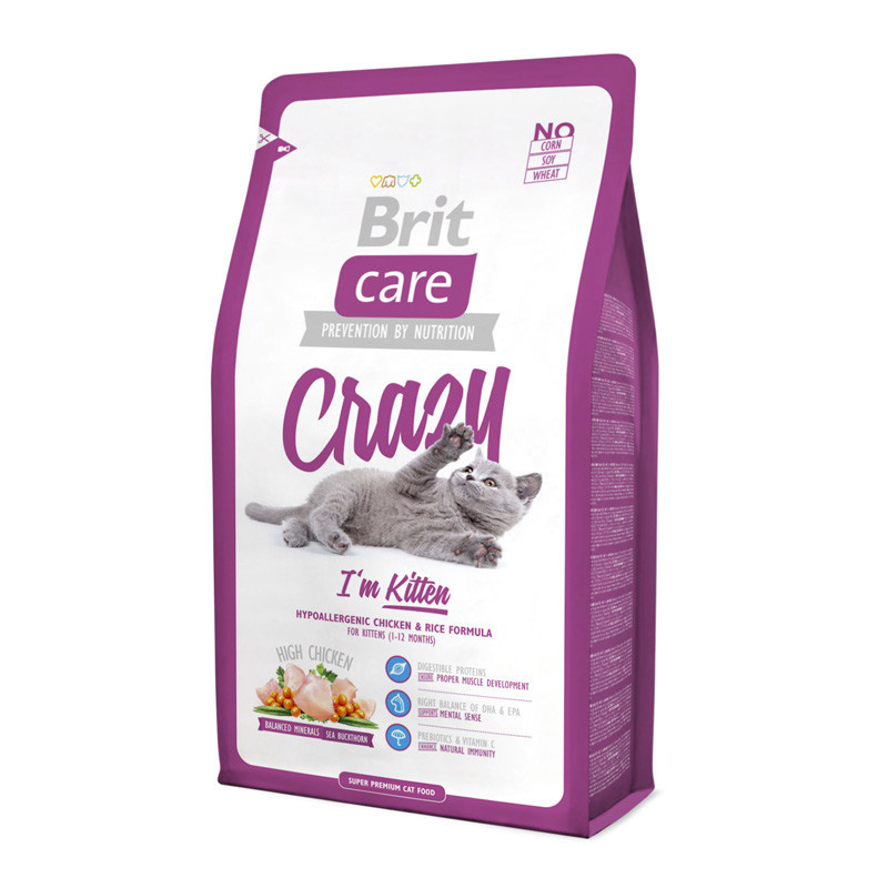 Brit Care CRAZY Kitten 0.4 кг - гипоаллергенный корм для котят (курица/рис)