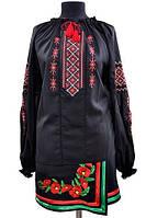 Вышитая рубашка женская черного цвета