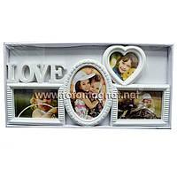 Мультирамка LOVE  пластиковая,коллаж (рамки для фотографий на стену) 4 фото, 2/10х15см.1/13х18см.1/9х9см.