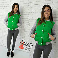 Стильная женская куртка-бомбер внизу на резинке, внутри утеплитель силикон. Цвет зеленый