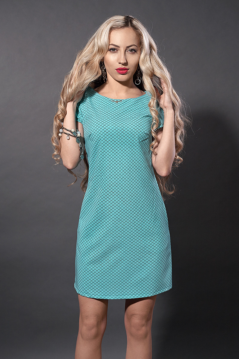 Платье мод. 277-7,размер 44,46 бирюзовый квадрат
