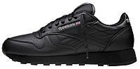 Мужские кроссовки Reebok Classic Leather All Black (Рибок Классик) черные