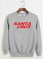 Свитшот Santa Cruz серый с красным логотипом, унисекс (мужской,женский,детский)