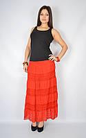 Уценка! Юбка женская с кружевом красная, 44-54 р-ры, фото 1