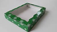 Коробка для пряников 20см х 30 см х 3см, Зеленый_снежинки