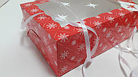 Коробка для пряников 17см х 25см х 9см, Красный_снежинки