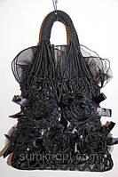Сумка женская шелковая мешочком черная, фото 1