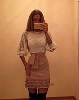Длинное женское платье с кружевом
