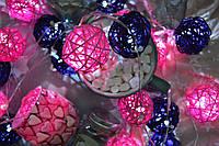 """Гирлянда на батарейках из плетеных шариков """"Яркие воспоминания"""". Диаметр шарика - 5 см. , фото 1"""